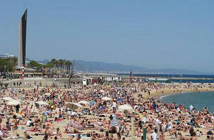 Crowded beach of Barcelona
